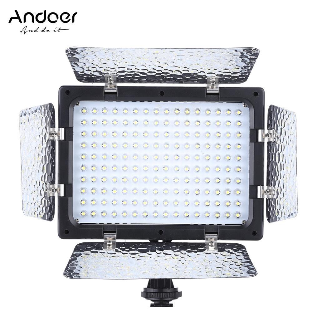 Andoer W160 Video Photography Light Lamp Panel 6000K 160 LEDs for Canon Nikon Pentax Sony (Alpha) Olympus Fujifilm DSLR
