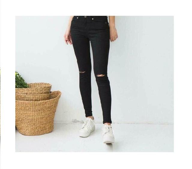 Quần Jeans Nữ Co Giãn Cạp Siêu Cao Kiểu Rách Gối/Kèm ảnh thật