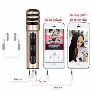 ⚡ Micro hát karaoke tích hợp live stream C7 cao cấp ⚡ cho hiệu ứng âm thanh cực đỉnh, có pin sạc ( tặng kèm 1 tai nghe)