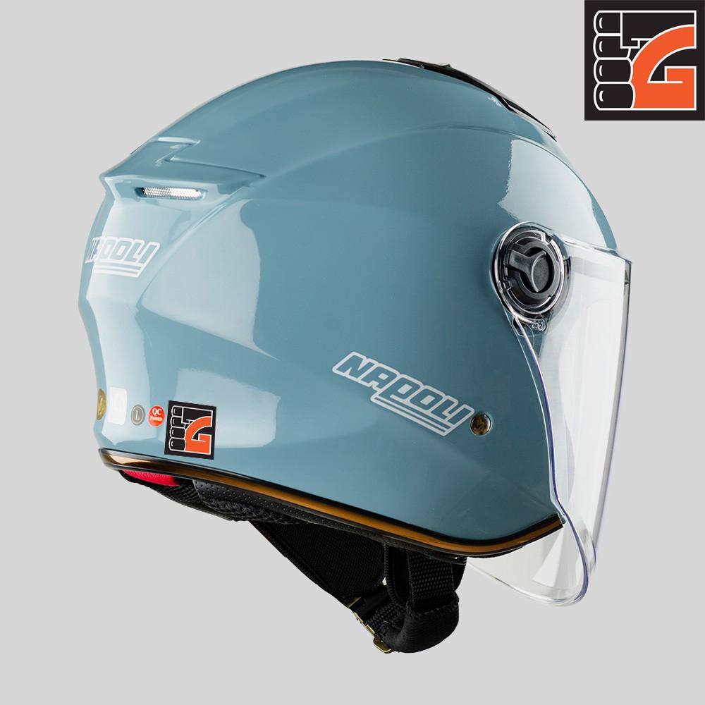 ✅[GLOVESZONE] Mũ bảo hiểm 3/4 kính NAPOLI X3 xanh cement bóng - Hàng Chính hãng