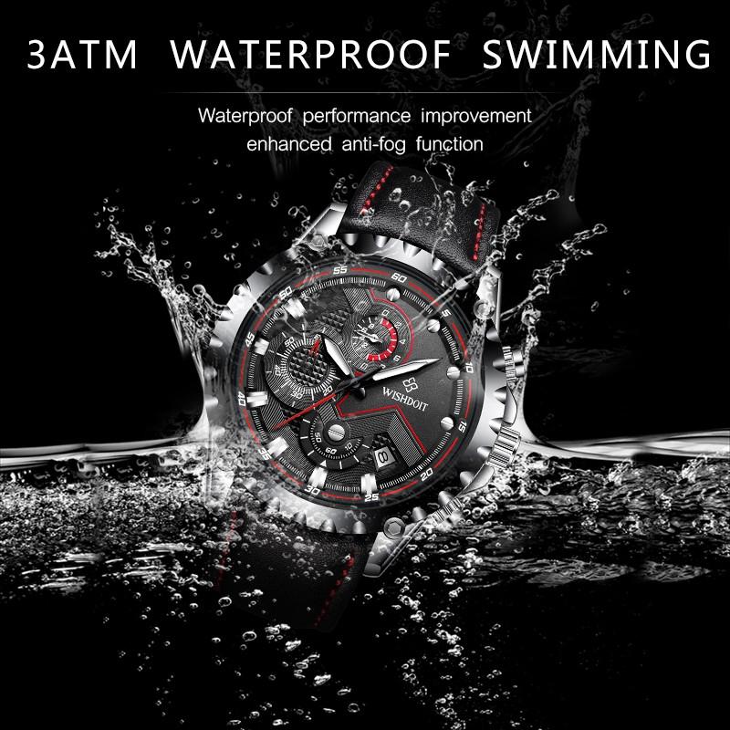 Đồng hồ WISHDOIT máy Quartz dây đeo da gồm ba nút bấm giờ đa năng dành cho nam