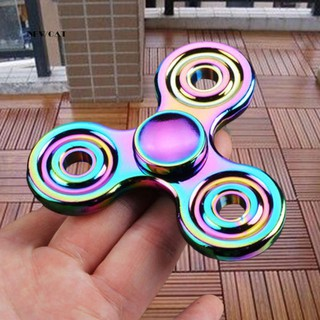 ღNK_Rainbow EDC Hand Tri-Spinner Focus ADHD Autism Finger Adult Kid Desk Toy Gyro
