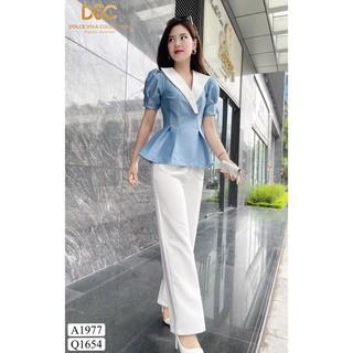 [Thời trang thanh l ý] Áo peplum tafta xanh cổ phối trắng - DOLCE VIVA COLLECTIO Hàng hiệu thanh lý giá rẻ thumbnail