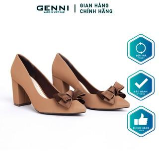 Giày vuông đính nơ 7p GE015 - Genni