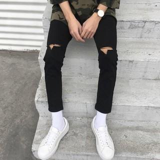 [Tiền Nào Của Đấy]Quần Jeans Nam Rách Gối Màu Đen Vải Co Giãn, Không Phai Màu Dáng Skinny Phong Cách Hàn Quốc-J04