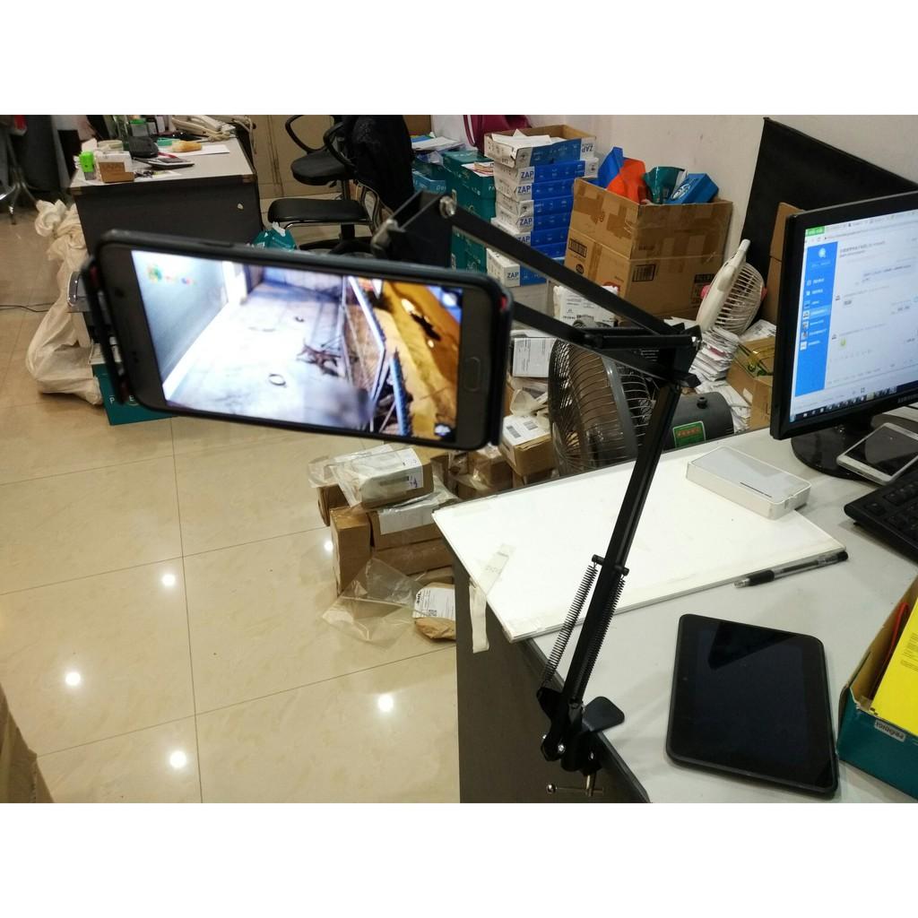 Giá đỡ Ipad kẹp đầu giường cạnh bàn xoay 360 độ kẹp điện thoại đa năng -Thép không gỉ