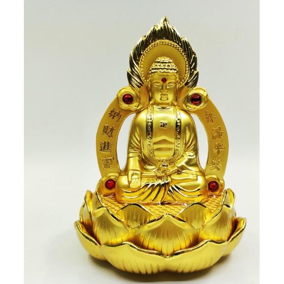 nước hoa xe hơi, tượng phật trang trí ô tô, tượng Phật Tổ Như Lai tọa đài sen hai mặt