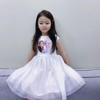 Váy trắng Elsa kim sa - SIÊU PHẨM