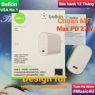 Củ sạc nhanh Belkin PD 27W 39W Type C cho Iphone 11, Iphone 12, Ipad, Macbook, MFI [Music4U] thumbnail