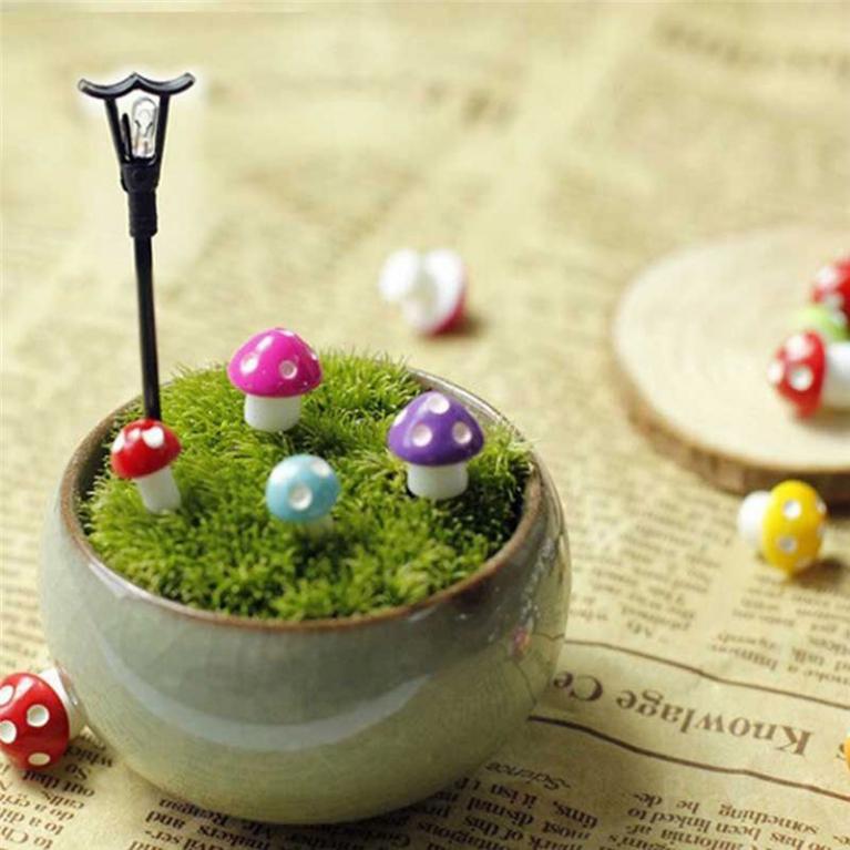 Beryl Mushroom Bonsai Succulent Plants Mini Decor Garden
