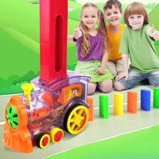 YOUN* Colored Electric Train Set Automatic Brick Laying Toy Trains Domino Board Game for Children