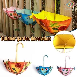 Summer Decor Umbrella Hanging Planter Wrought Iron Floral Printing Balcony Decor