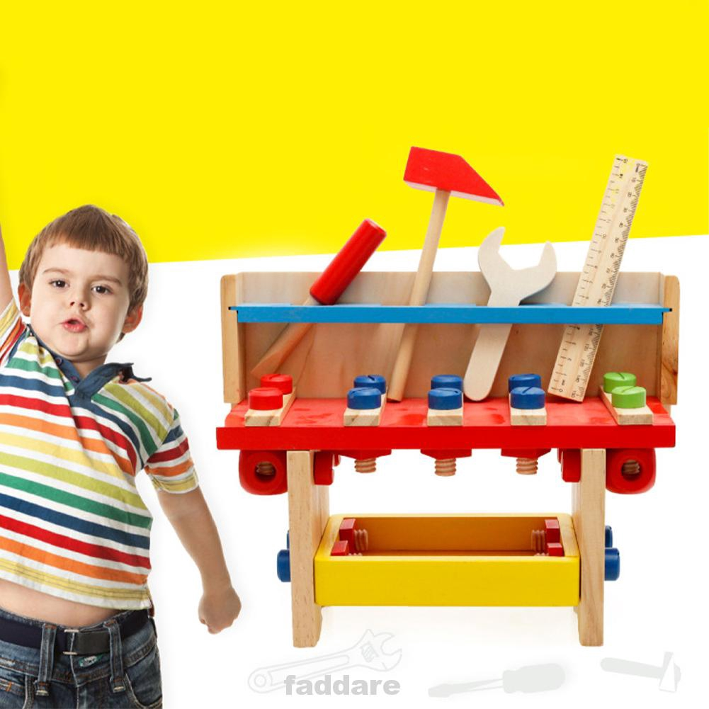 Engineer Pretend Play Screwdriver Wooden Educational Toy Children Wrench Scale Kit Work Bench Tool Set
