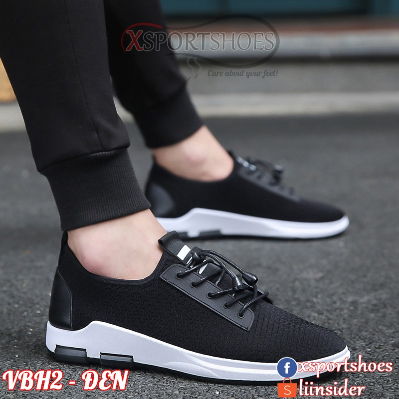 Giày thể thao nam cổ thấp màu đen - Giày sneaker nam thời trang VBH2