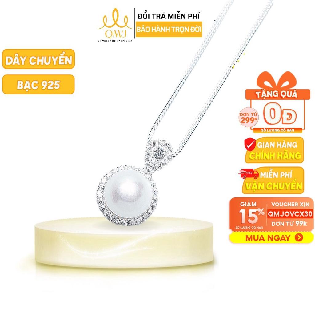 [Mã FARSBRAS30S1 giảm 10% đơn 150K] Dây chuyền bạc QMJ Ngọc nhân tạo thanh lịch, nạm đá tấm sáng - Q157