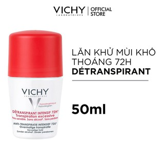 Lăn khô thoáng vùng da dưới cánh tay 72h Vichy Détranspirant Intensif 50ml