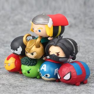Bộ 8 nhân vật mô hình đồ chơi Tsum Tsum The Avenger United States Captain Raytheon Hulk Spiderman