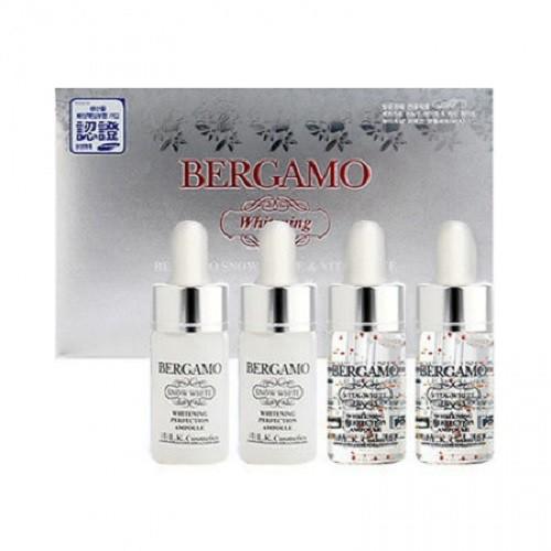 Set 4 siêu tinh chất dưỡng trắng Bergamo Snow White & Viva White Whitening Perfection Ampoule (13m