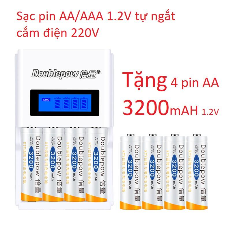 Bộ Sạc Pin AA, AAA K98 Doublepow Tự ngắt khi đầy Tốc Độ Cao Màn Hình LCD Tặng kèm pin sạc AA 3200mAh