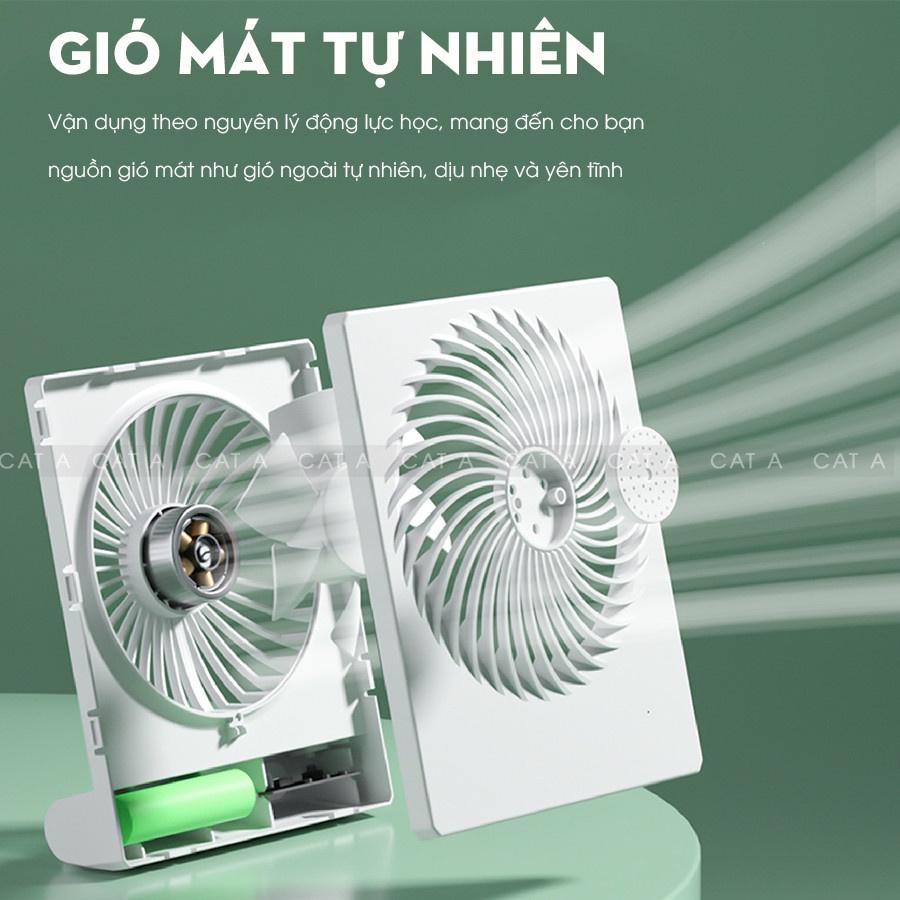 Quạt tích điện để bàn, quạt mini không dây sạc pin USB có 3 tốc độ gió, pin 1200mAh