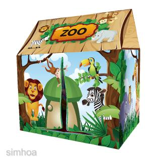 Kids Foldable Play Tent Forest House Themed Tent w/ Storage Bag 37″L x 40″H
