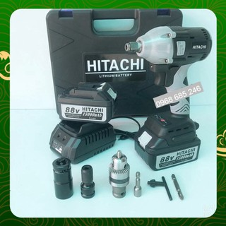 Máy siết bulong Hitachi 88V 2 pin 15000mAh, không chổi than, đầu 2 trong 1 - KÈM PHỤ BỘ PHỤ KIỆN _ Nhật Việt official