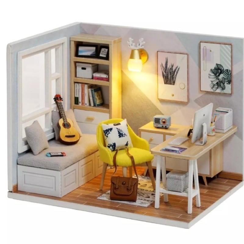 qt007 mô hình lắp ghép nhà gỗ(có keo,mika,đèn)