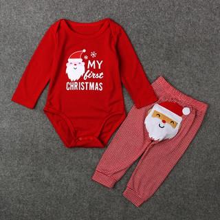 Bộ áo liền quần + quần dài họa tiết ông già Noel Giáng sinh dễ thương cho bé