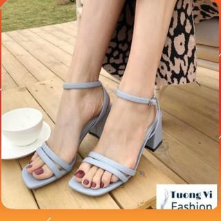 PAMELA - Giày Sandal 2 Dây Mảnh Gót Vuông 5p Chắc Chắn, Phù Hợp Đi Du Lịch (Sắn Hàng)
