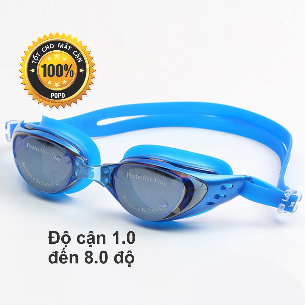 Kính bơi cận 1,0 đến 8.0 độ thế hệ mới 610 Xanh kiểu dáng thời trang nhỏ gon, chống UV, chống sương