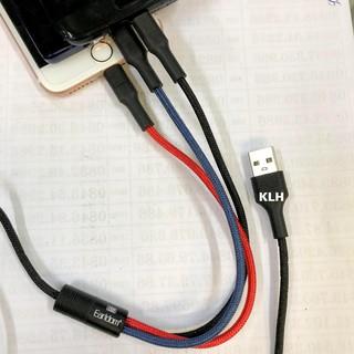 Cáp sạc 3 đầu Earldom IMC 067, dây bọc dù sạc đa năng cho nhiều loại máy Iphone, samsung, oppo, huawei Micro, Type c KLH
