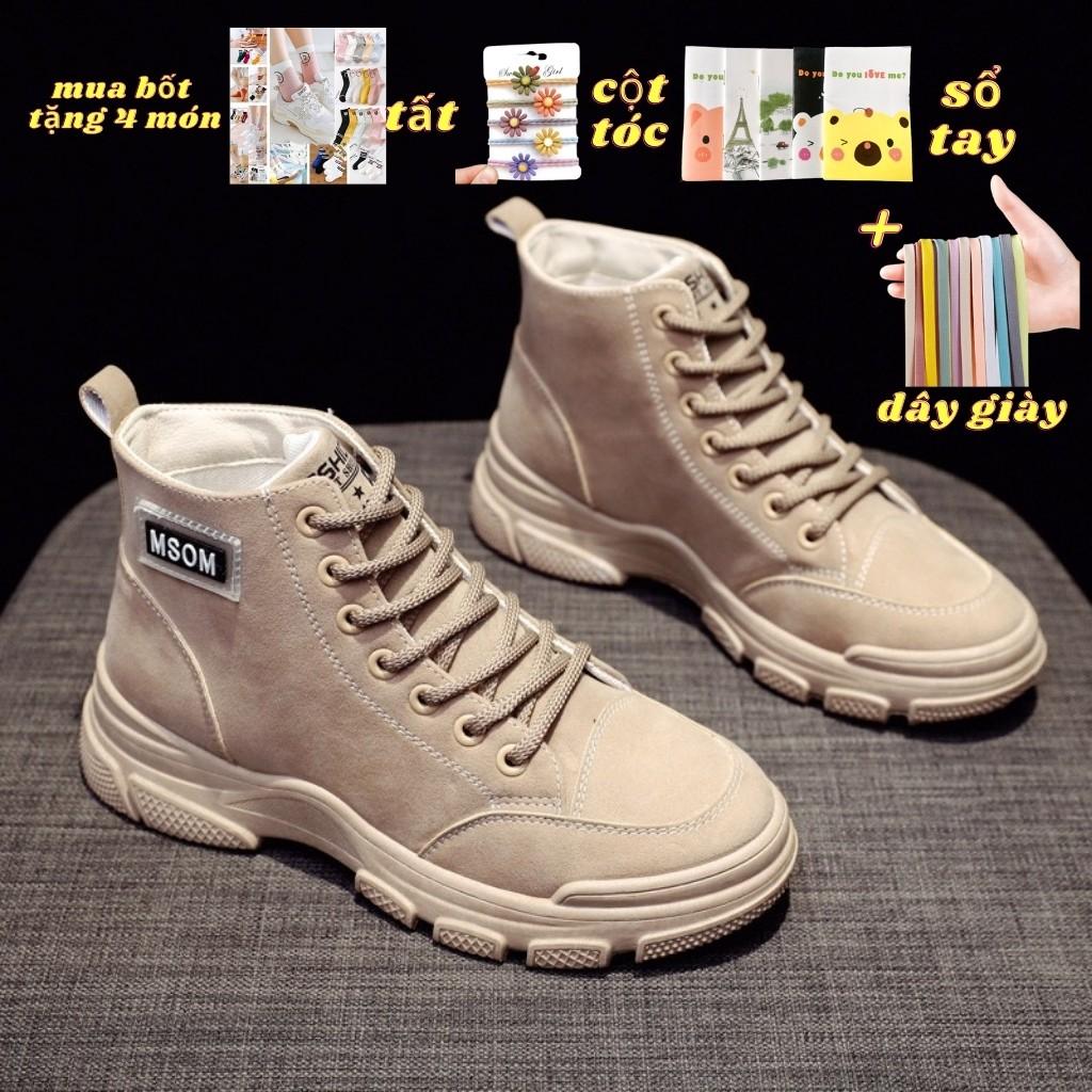 Giày Bốt Nữ BN01 MSOM Mẫu Mới 2020 Tặng Kèm Tất Cao Cấp, Chai Xịt Trắng Giày