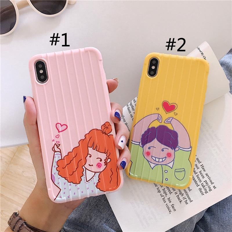 Love Couple Girl Boys Pattern Stripe Surface Case for iPhone 6 6s 7 8 Plus 7P/8P/6P/6SP 6X XS XR XSMAX Casing