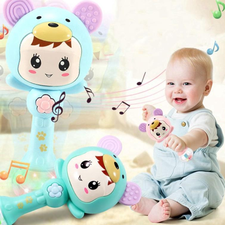 Baby Toy Rattle Stick Teether Music Twinkling Lamp Cartoon Shape