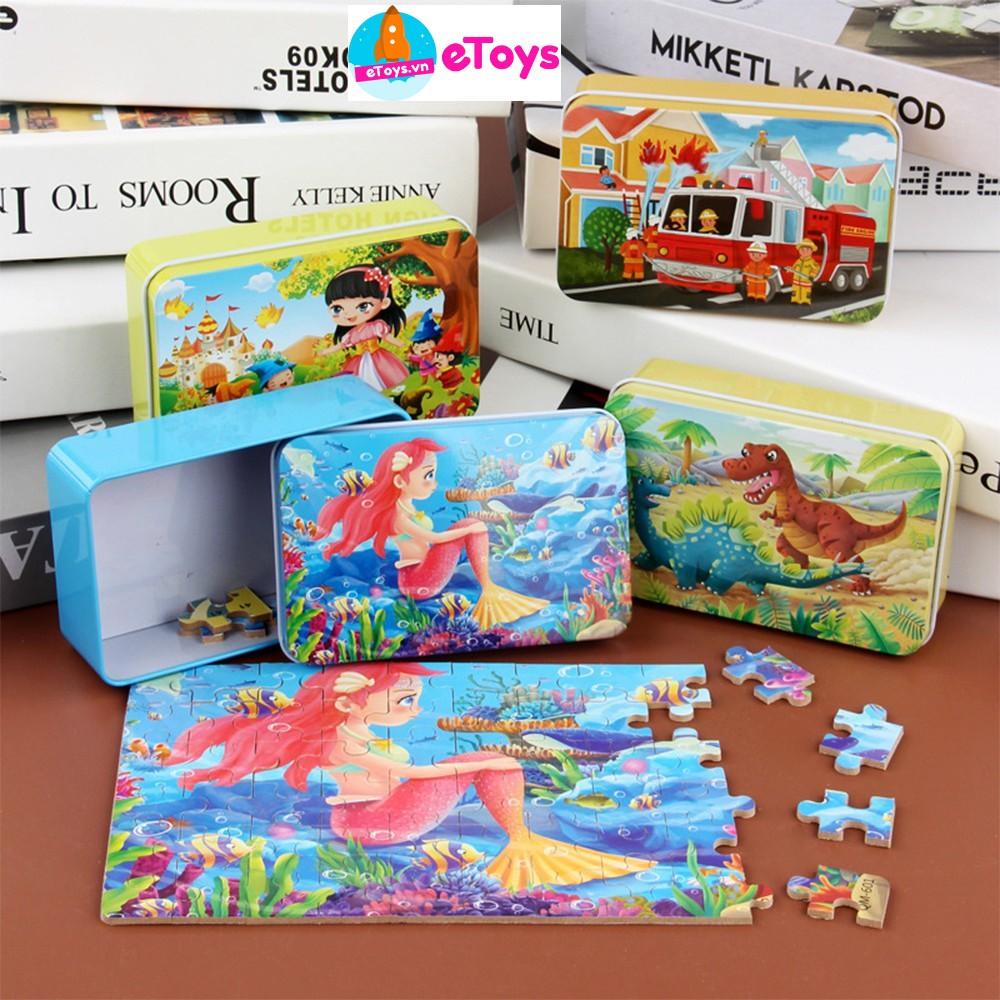 Xếp hình cho bé puzzle 60 mảnh ghép hộp sắt nhiều mẫu chất lượng cao ETOYS