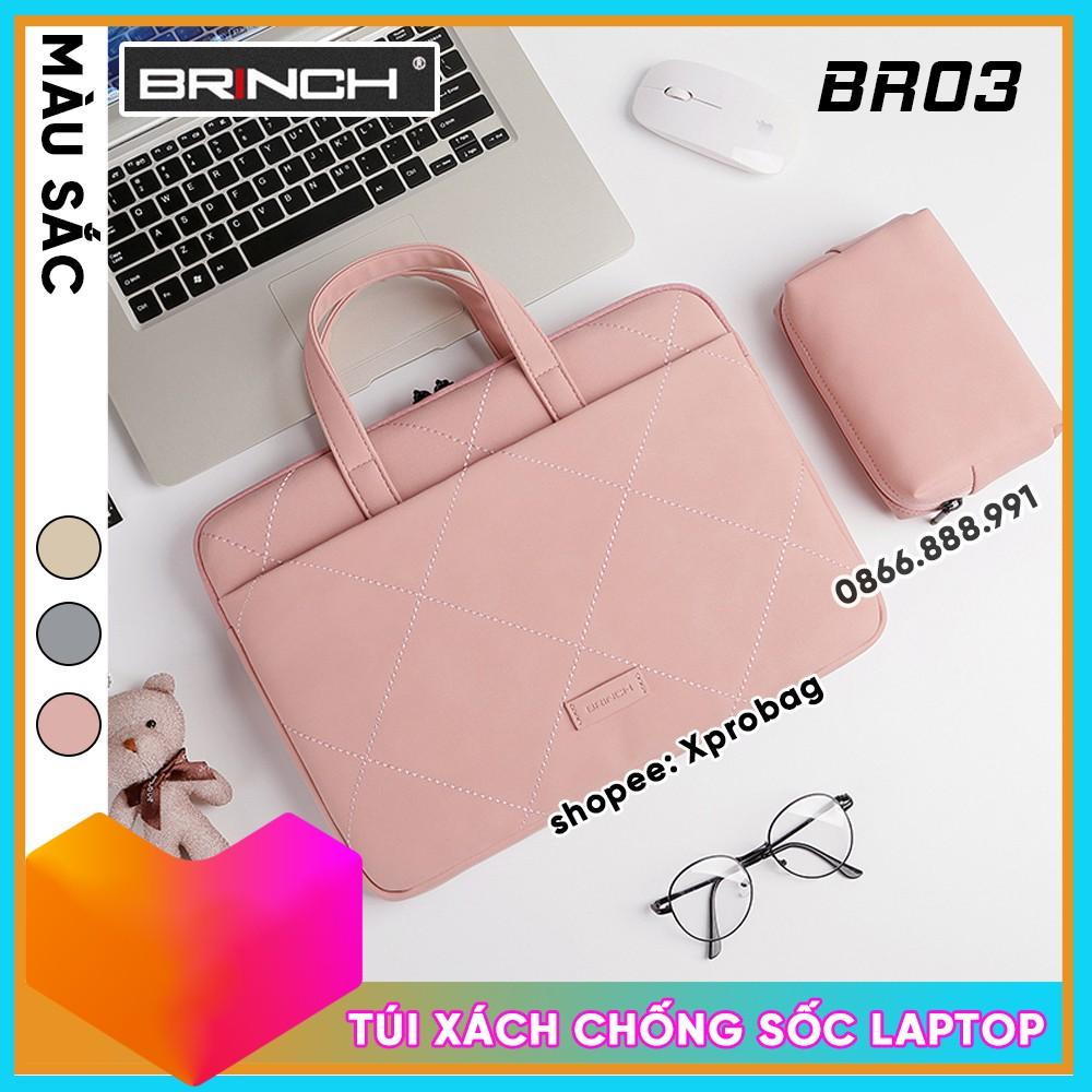 Túi Chống Sốc Laptop hoặc Macbook BR03 Chính Hãng Brinch Chất Liệu Da PU Cao Cấp, Tặng Kèm Gấu Bông Xinh Xắn - Xprobag