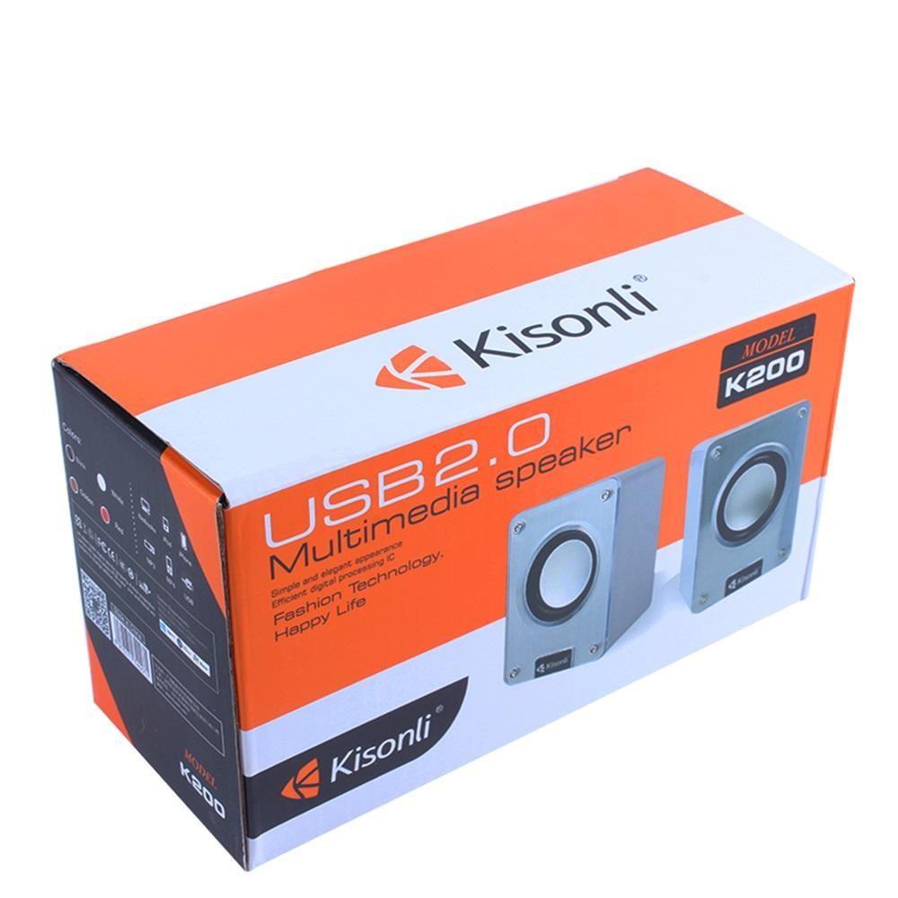 Loa vi tính 2.0 Kisonli K200 thiết kế vuông vức mạnh mẽ (Màu ngẫu nhiên)