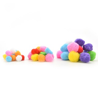NBY❤❤100 Pcs 10mm Mixed Color Soft Fluffy Pom Poms for kids Crafts 20mm