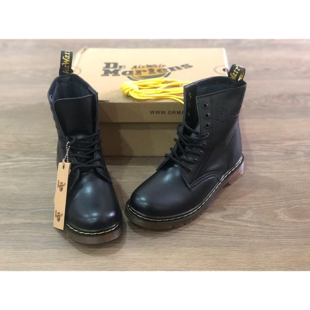 (Full box - Freeship) Giày da Dr Martens đen cao cổ