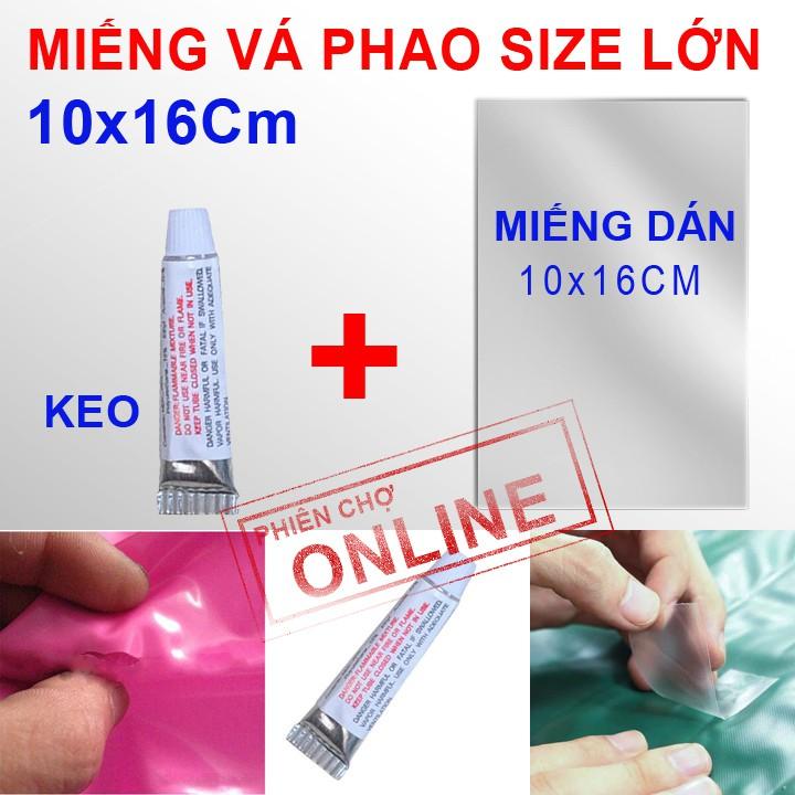 Bộ vá phao size lớn 10x16cm + keo nhiệt siêu dính
