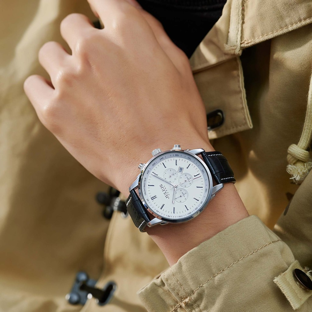 Đồng hồ nam 06 kim Julius JAH-133 dây da   Julius Official