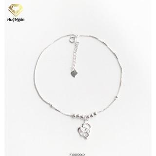Lắc chân bạc Ý 925 Huệ Ngân -Cỏ bốn lá và tim RYBJ50060