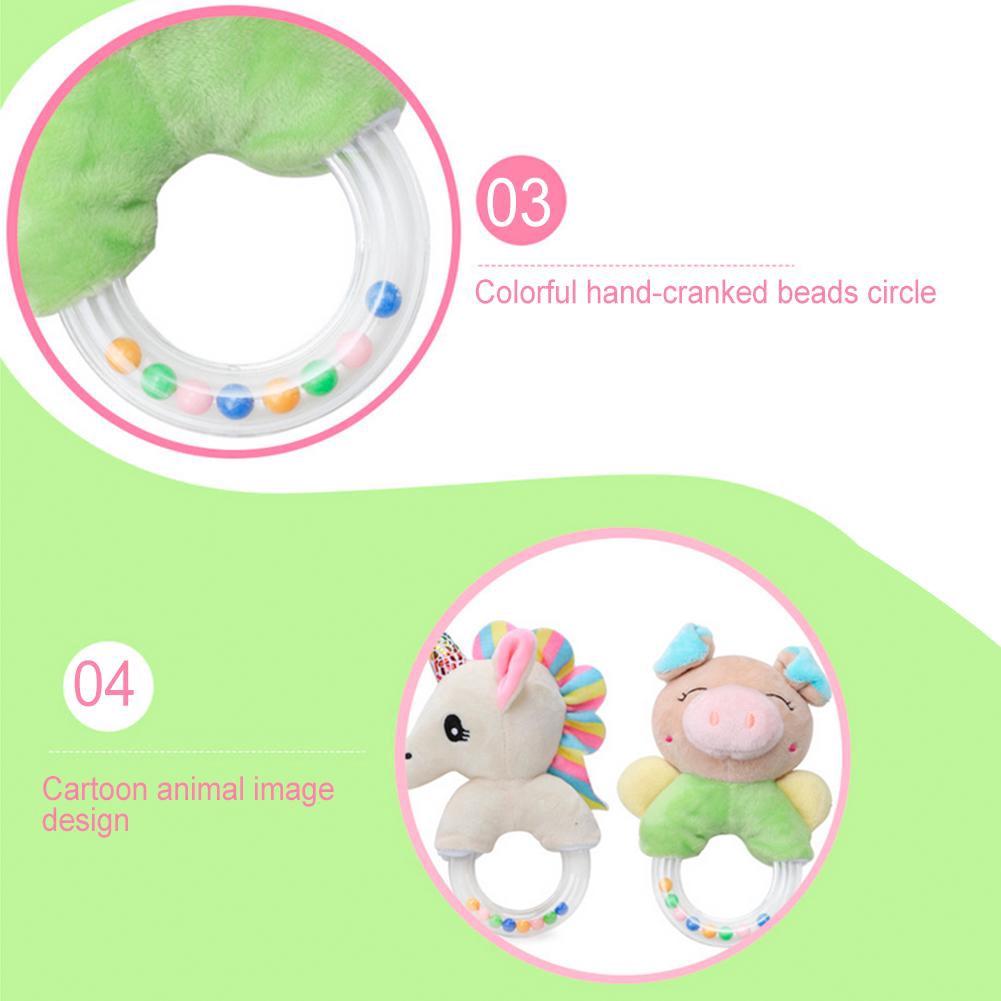 Goonshopping Cute Cartoon Animal Shape Baby Rattle Toy Plush Hand Bells Toy for Infant Newborn