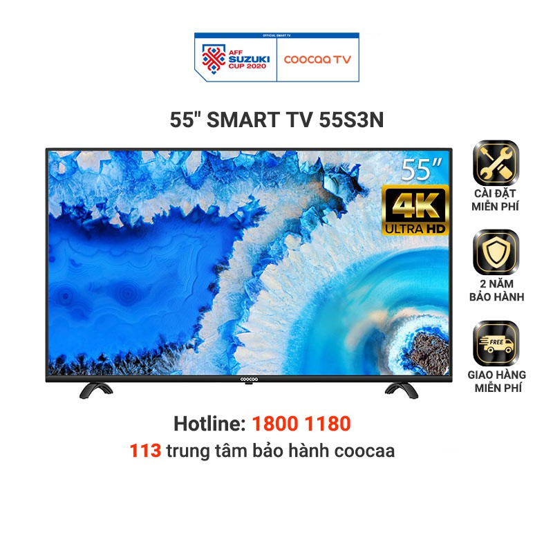 Smart Tivi Netflix 4K UHD Coocaa 55 inch Wifi - Model 55S3N - Miễn phí lắp đặt