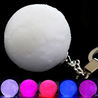 ★Portable 3D Printed Moon Night Light LED Ball Lamp Keychain Key Ring Decor Gift