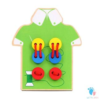 Wooden Toys Children Handmade Wear Stitching Button Hand-eye Coordination Game