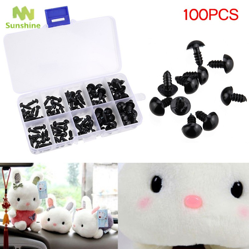 100pcs Black Plastic Safety Eyes for Teddy Plush Doll Puppet DIY Crafts 6-12mm