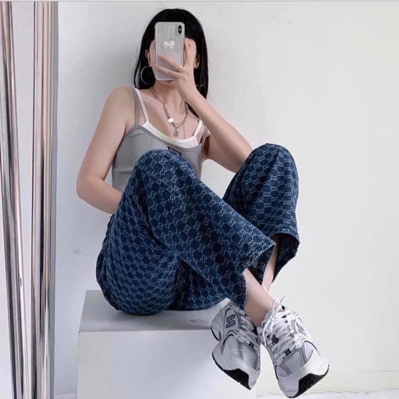 Quần jean ống rộng G.C hot trend cá tính ngầu chất quần jeans ống đứng jeans nam nữ phong cách hàn sang chảnh