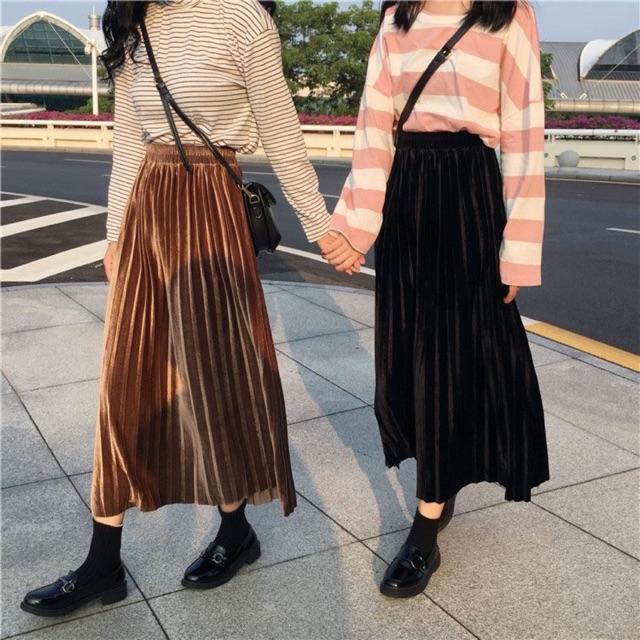 ORDER] Chân váy midi nhung xếp li | Shopee Việt Nam