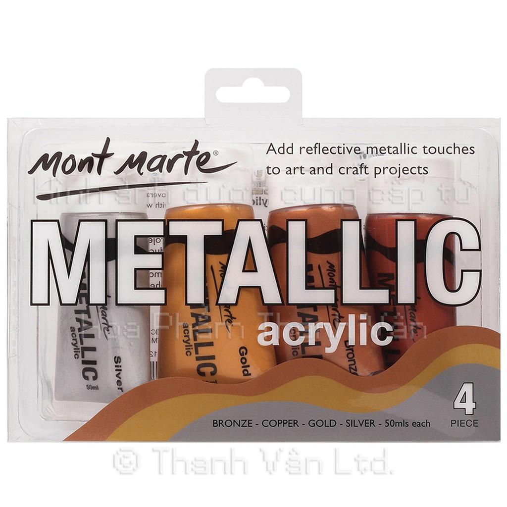 Set màu nhũ Mont Marte Metallic Acrylic - 4 màu - 50ml